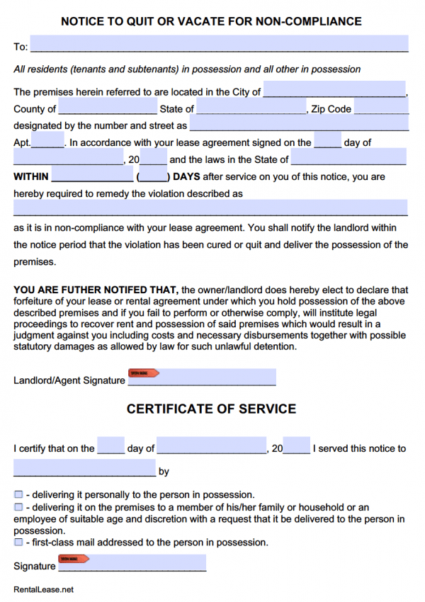 Notice to Comply or Quit (Lease Violation) Adobe PDF - Microsoft Word (.doc)