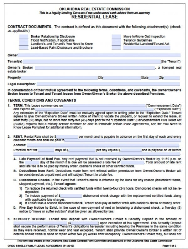 Free Oklahoma Standard One 1 Year Residential Lease Agreement – Residential Lease