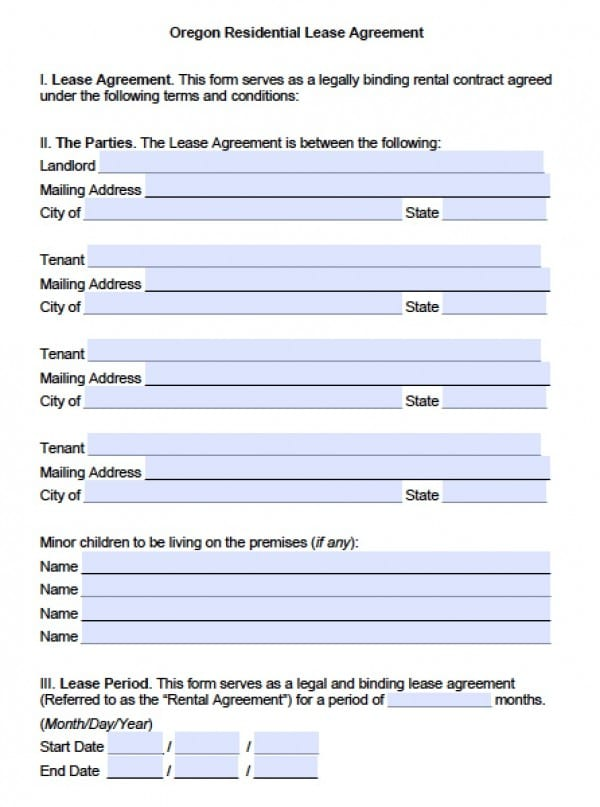 Free Oregon Residential Lease Agreement PDF – Free Printable Rental Lease Agreement