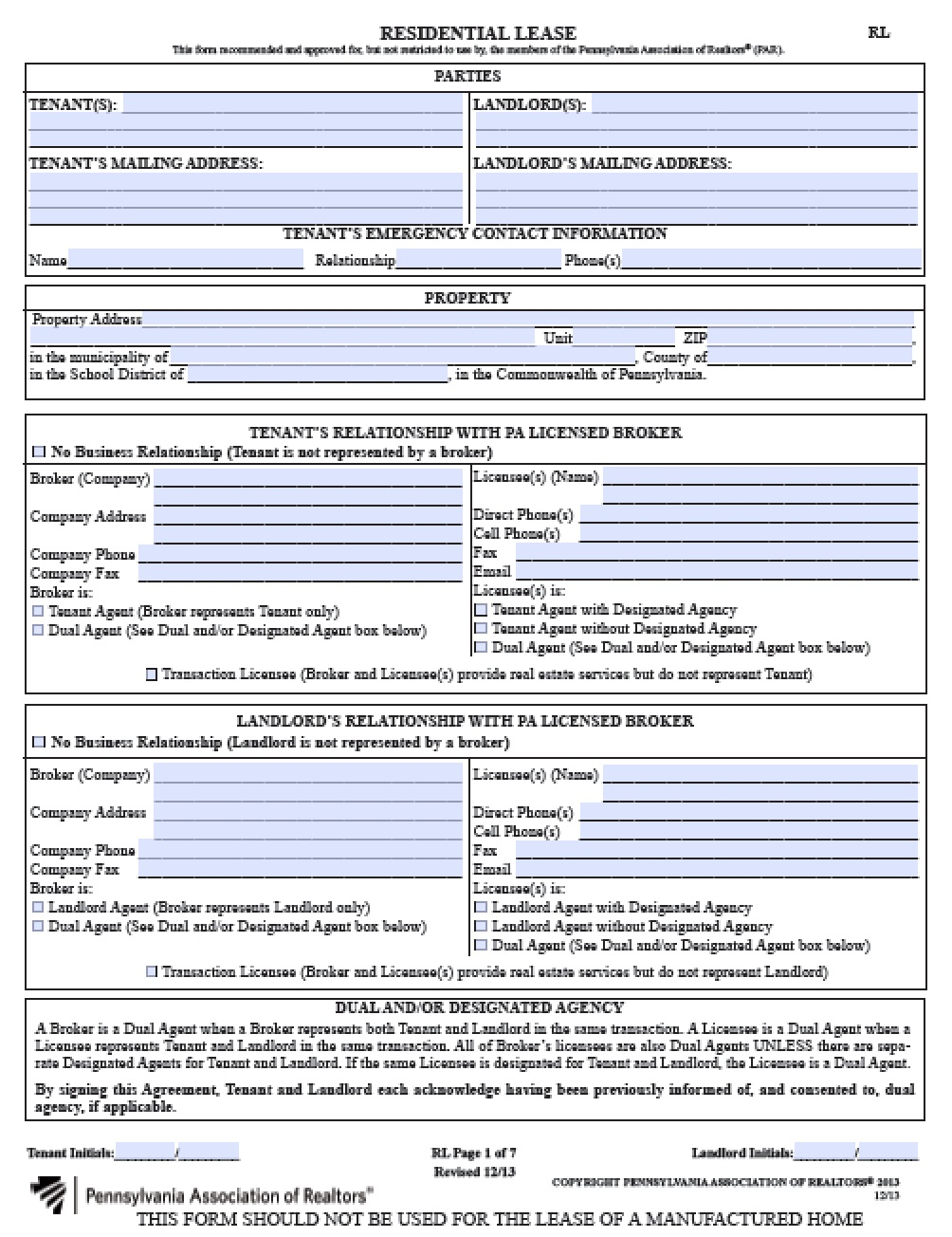 Free pennsylvania residential lease agreement pdf word for Housing lease template