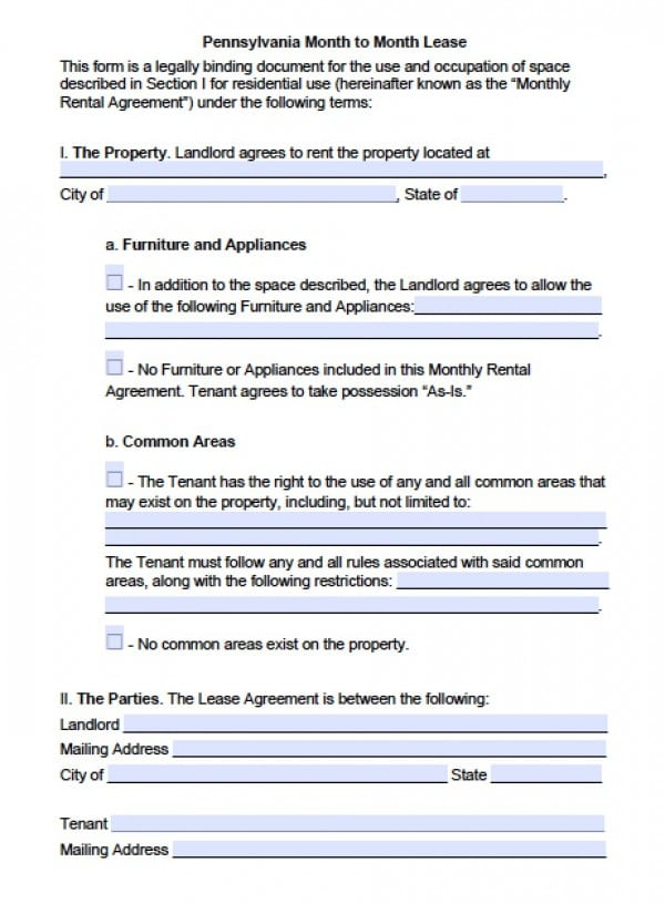 Free Pennsylvania MonthtoMonth Lease Agreement PDF – Tenant Lease Form