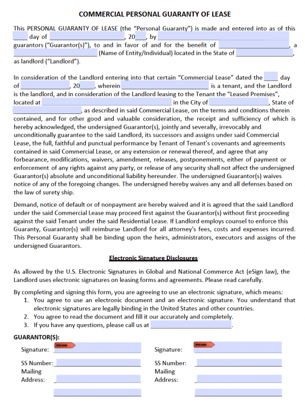 Personal Guarantee Form (Adobe PDF)
