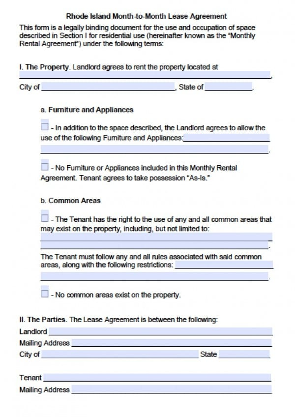 Free Rhode Island MonthToMonth Lease Agreement  Pdf  Word Doc