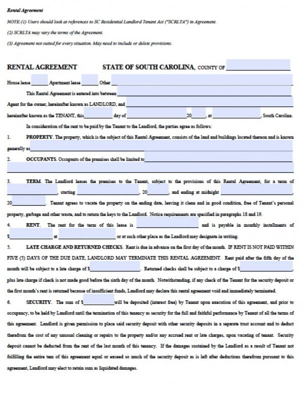 Free South Carolina Residential Lease Agreement    Word Doc