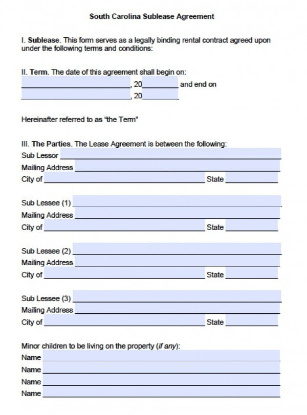 Free South Carolina SubLease Roommate Agreement PDF – Roommate Lease Agreement