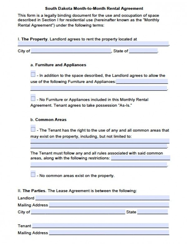 South Dakota Month to Month Lease Agreement | PDF | Word