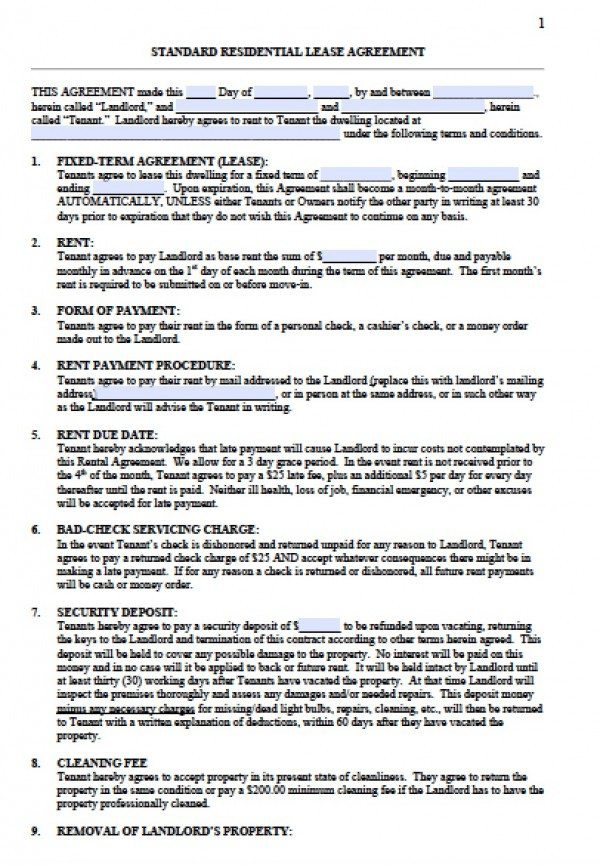 Free standard residential lease agreement templates pdf for Standard tenancy agreement template