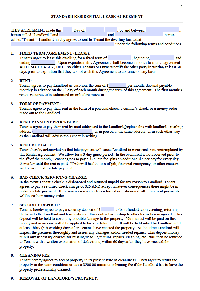 Standard Lease Agreement Templates Download