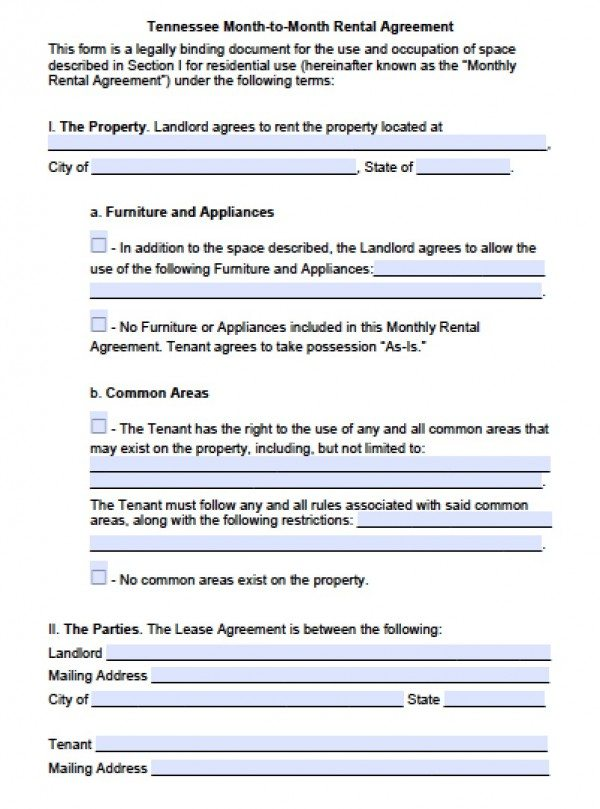 Free Tennessee Month-To-Month Lease Agreement | Pdf | Word (.Doc)