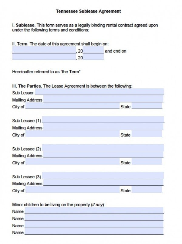 Free Tennessee SubLease Agreement PDF – Sublet Agreement Template