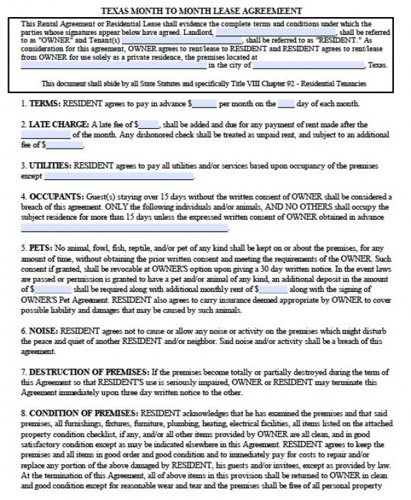 Free Texas Month To Month Lease Agreement Pdf Word Doc