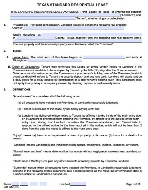 House Rent Contract Printable Sample Free Lease Agreement. Free Texas  Residential Lease Agreement Pdf Word Doc