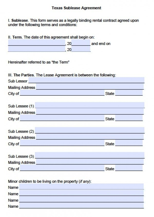 Free Texas SubLease Agreement  Pdf  Word Doc