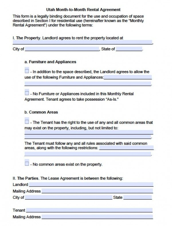 Free Utah Month to Month Lease Agreement PDF – Rental Lease Agreement Word Document