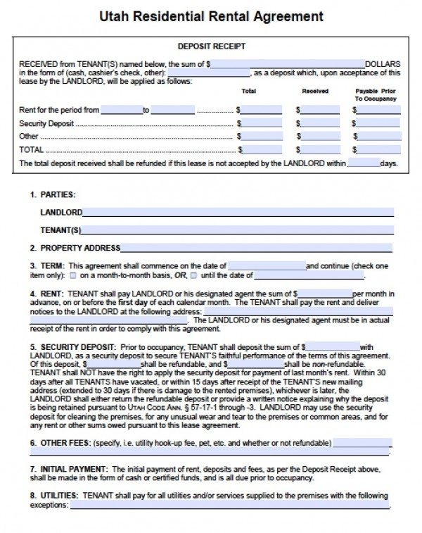 Free Utah Residential Lease Agreement  Pdf  Word Doc