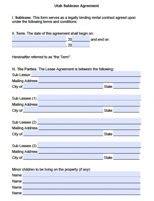 Free Utah SubLease Agreement PDF – Sublease Agreement Template Free