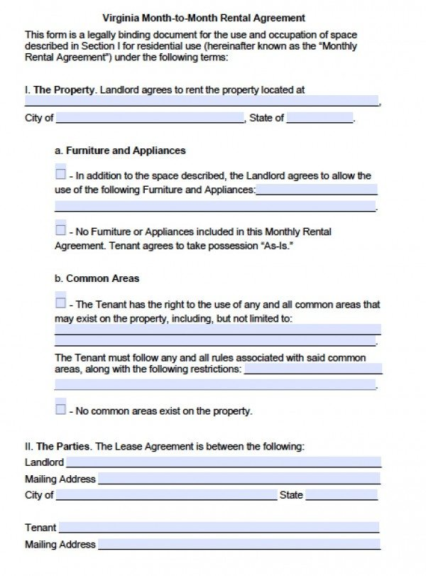 Free Virginia MonthToMonth Lease Agreement    Word Doc