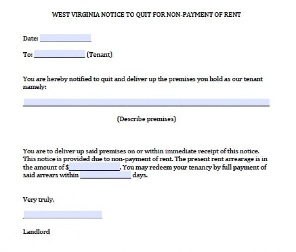 free west virginia notice to quit for nonpayment pdf word doc. Black Bedroom Furniture Sets. Home Design Ideas