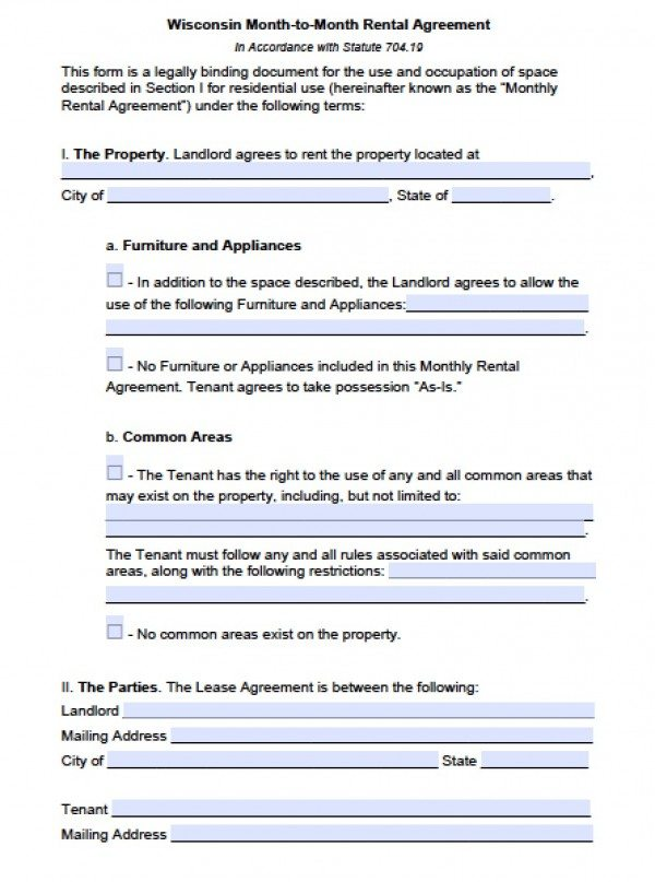 Free Wisconsin MonthToMonth Lease Agreement    Word Doc